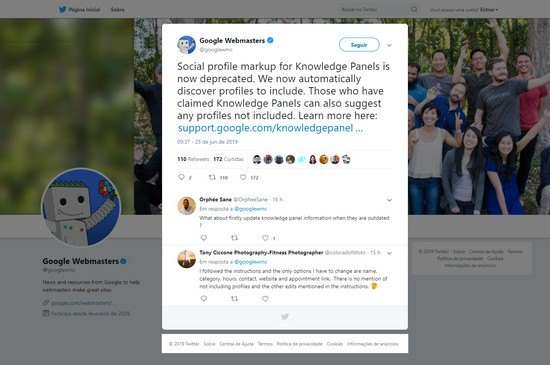 Google is deprecating the use of social profile markup, which was once necessary for social media buttons to display in knowledge panels.